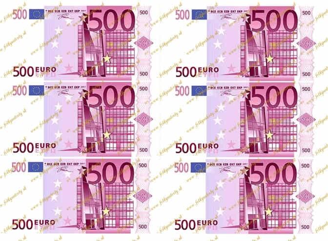 Jedlé peniaze 500 eurobankovky