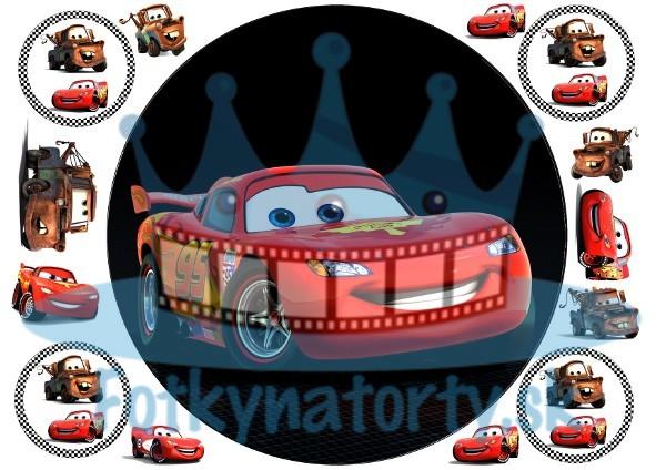 Autíčko McQueen kruh s dekoráciami - jedlý obrázok na tortu / jedlé obrázky / oblátka / Fotky na torty / na muffiny mafiny