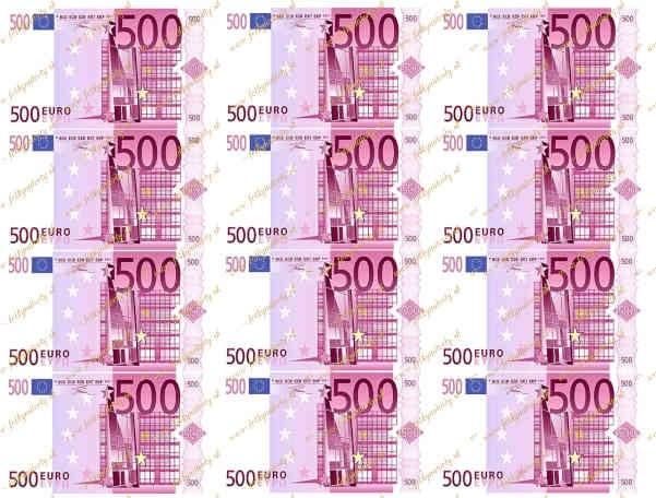 Jedlý obrázok - jedlé bankovky 500 eur