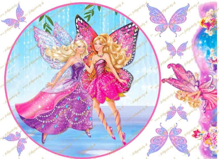 Jedlá okrúhla oblátka Barbie - Mariposa a kvetinová kráľovná