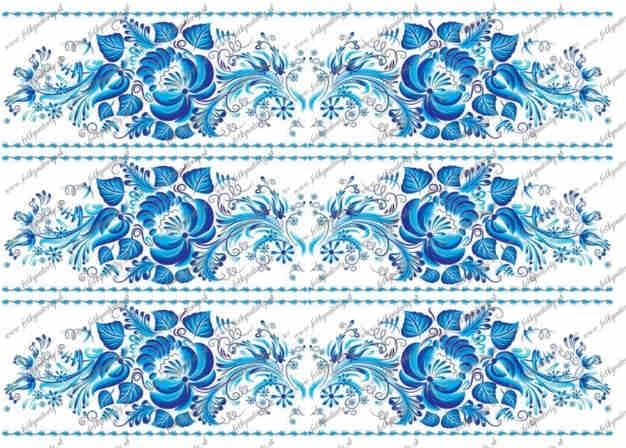 Folklórny motív - modrý maľovaný  jedlý obrázok -  jedlý lem okolo torty