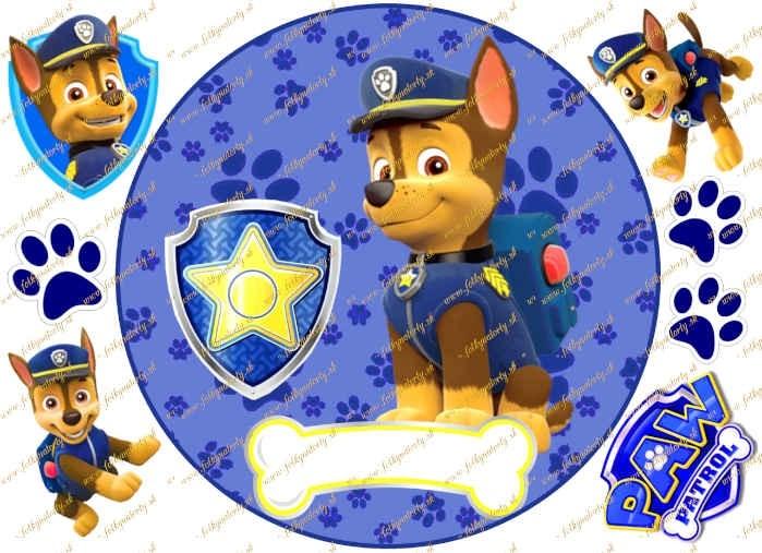 Jedlý obrázok na tortu Labková patrola Paw patrol - psík Chase