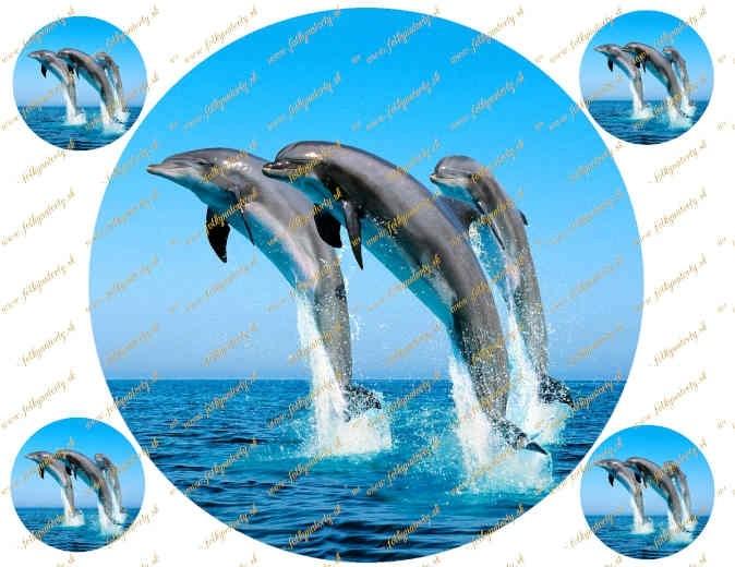 Jedlý okrúhly obrázok na tortu delfíny