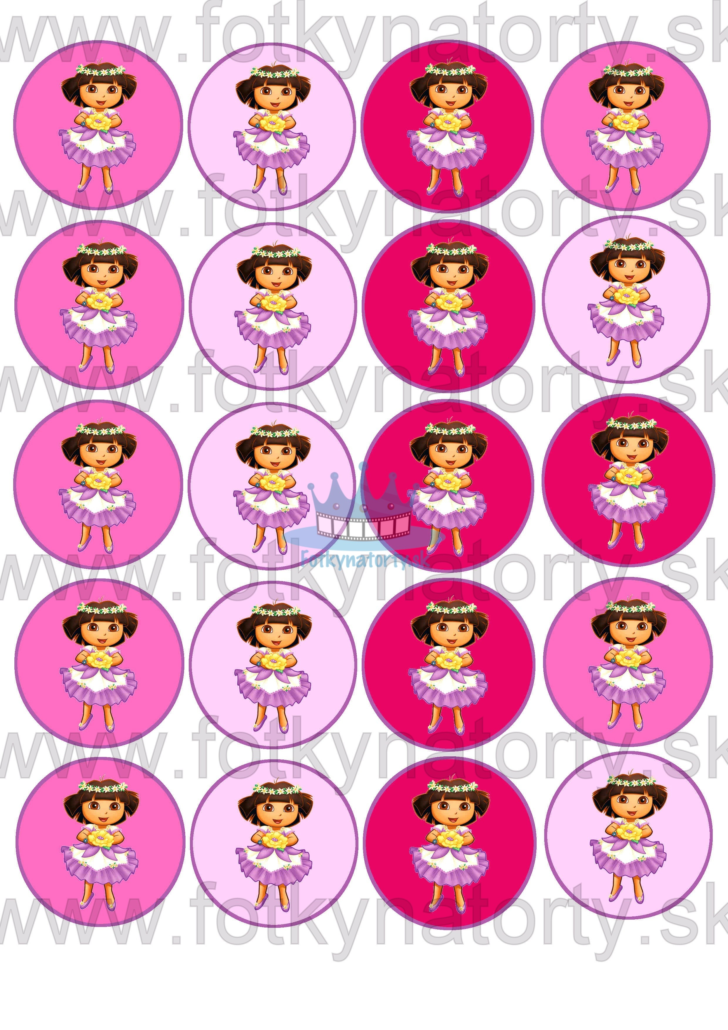 DORA na muffiny - 20ks - jedlé dekorácie na zákusky, medovníčky a iné dobrôtky / na tortu / jedlé tortové obrázky / jedlá tlač / jedlý papier
