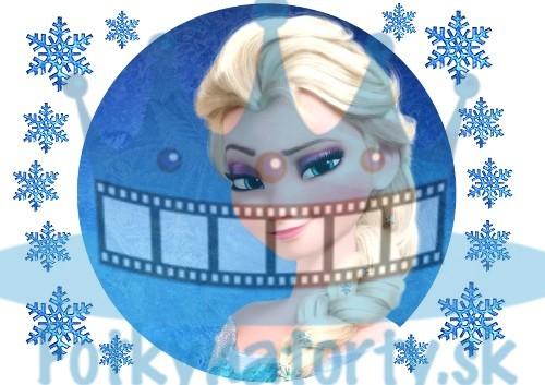 FROZEN - Ľadová Kráľovná Elsa - okrúhly jedlý obrázok/ oblátka na tortu s dekoráciami / Fotky na torty / Jedlé obrázky / jedlá tlač / oplátky / oplátka