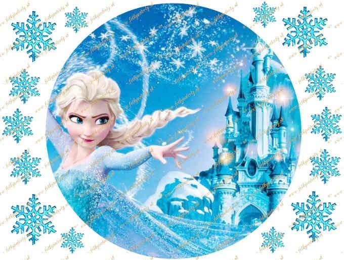 Prekrásny jedlý obrázok na tortu - Elsa a ľadový zámok - kruh