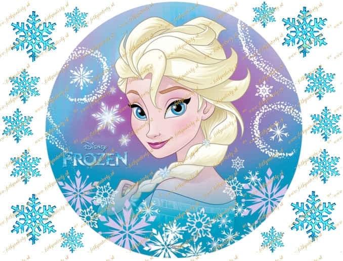 Jedlý obrázok na tortu Frozen Elsa so snehovými vločkami