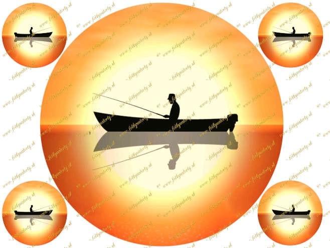 Okrúhly jedlý obrázok na tortu - rybár a západ slnka