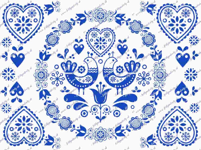 Folklórny obrázok na tortu modrý - kruh/ obdĺžnik