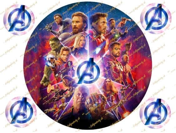 Okrúhly jedlý obrázok na tortu - Avengers