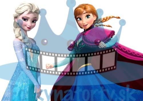 Sestry Elsa a Anna - ľadové kráľovstvo FROZEN - jedlá tortová oblátka na vystrihnutie a vymodelovanie sukien / Fotky na Torty