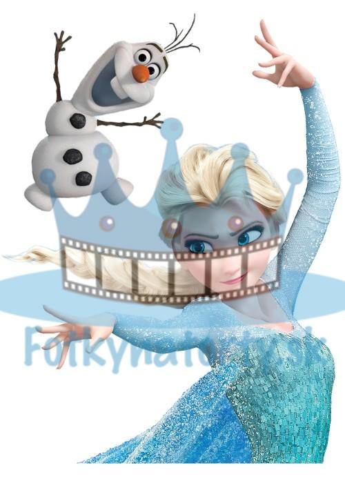 FROZEN - Elsa a olaf - ľadové kráľovstvo - jedlá tortová oblátka na vystrihnutie / Fotky na Torty