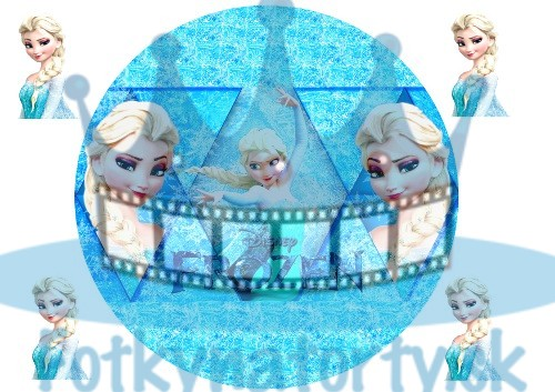 Ľadové kráľovstvo (Frozen) Elsa - kruh - jedlý obrázok / oblátka na tortu / Fotky na Torty