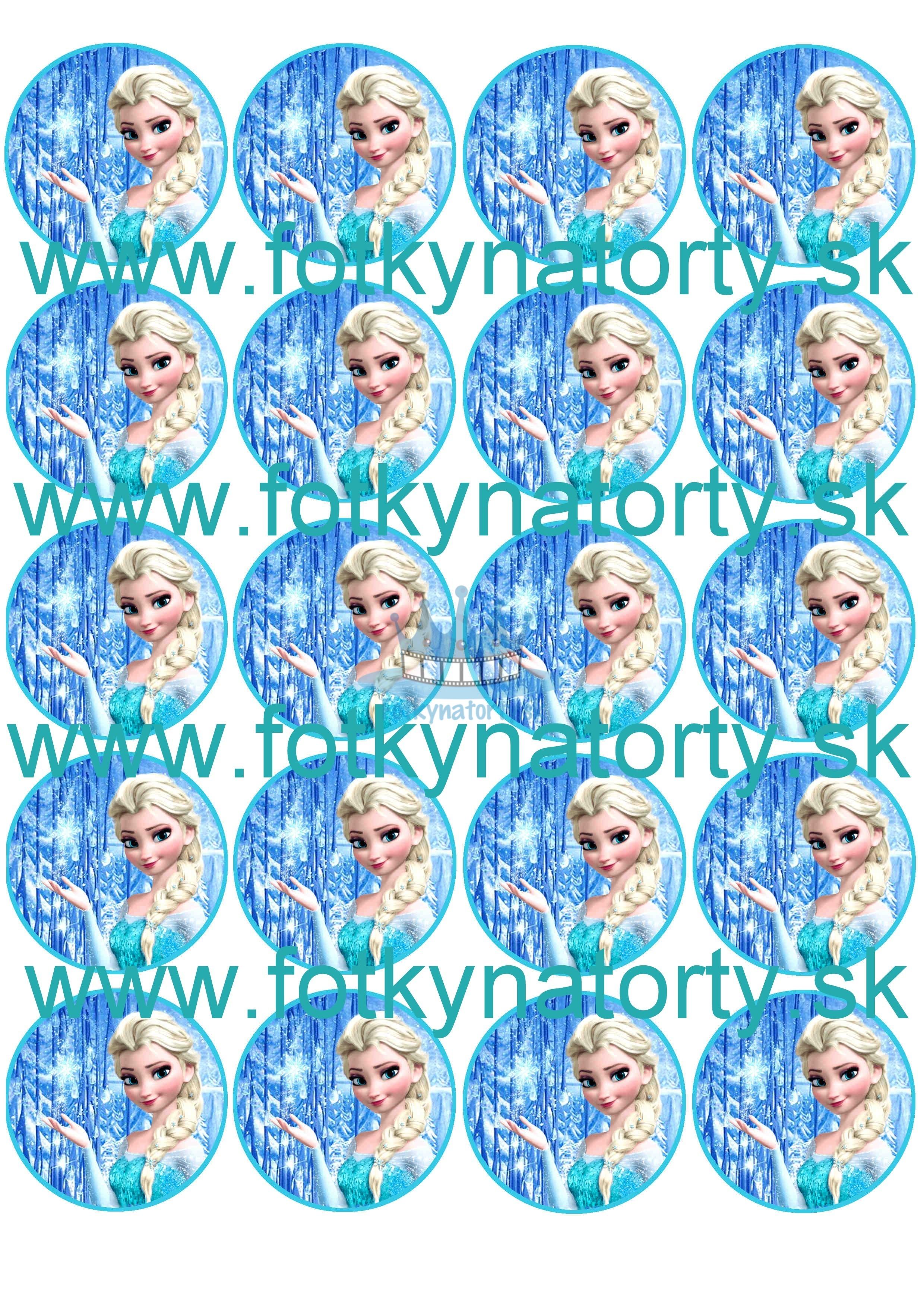 Elsa na muffiny - Frozen na muffiny - ľadové kráľovstvo Frozen Anna Elsa olaf Sven Kristof na muffin - jedlé obrázky na zákusky, medovníčky a iné dobrôtky / na tortu / jedlé tortové obrázky / Fotky na Torty