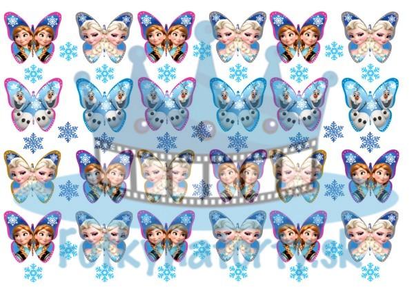 Ľadové kráľovstvo Anna a Elsa motýle - 24 ks - jedlé obrázky na zákusky, medovníčky a iné dobrôtky/ jedlý obrázok / Fotky na torty
