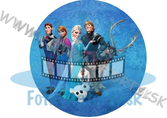 FROZEN - Ľadové kráľovstvo Anna Elsa Olaf Sven okrúhly jedlý obrázok / oblátka na tortu / Fotky na Torty