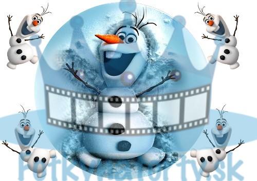 FROZEN - Snehuliak Olaf  Ľadové Kráľovstvo KRUH s dekoráciami  - jedlý obrázok/ oblátka na tortu / Fotky na torty