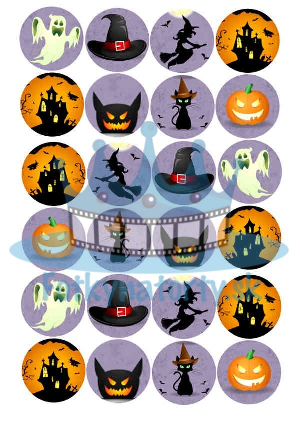 Halloweenske dekorácie na muffiny - 24 ks - jedlé dekorácie na zákusky, medovníčky a iné dobrôtky / na tortu / jedlé tortové obrázky / dekorácie na pečenie/ Fotky na torty