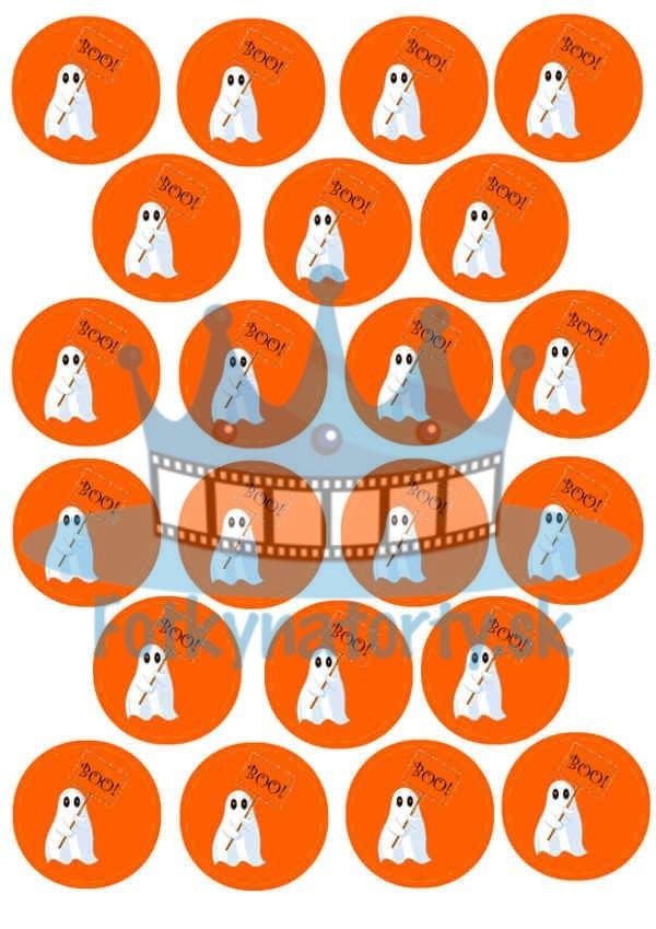 Halloween - Duchovia - oranžové dekorácie na muffiny - 22 ks - jedlé obrázky na cupcakes