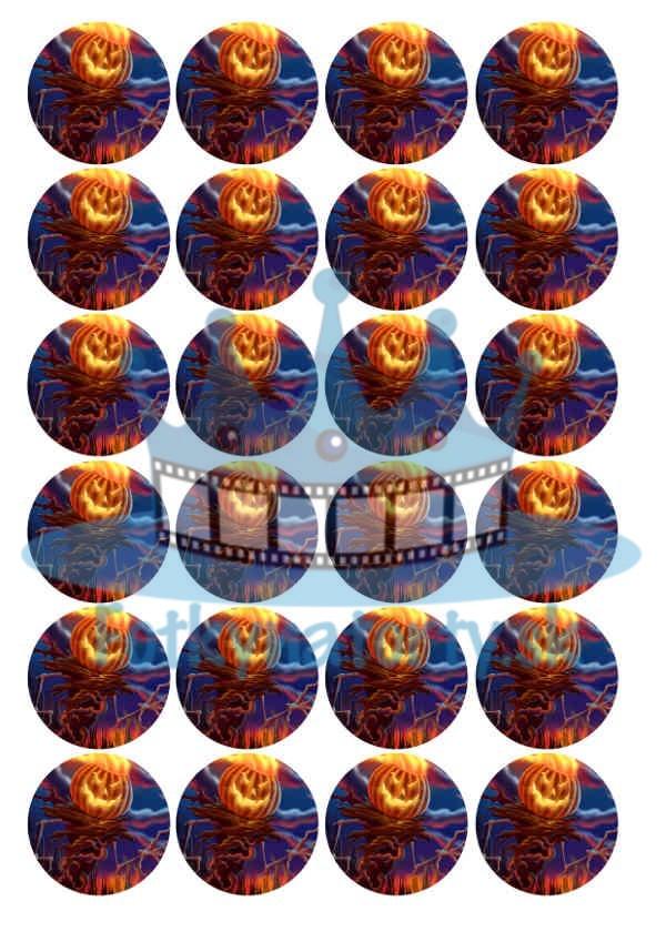 Halloween - dekorácie na muffiny - 24 ks - Ø 4,5cm - jedlý obrázok / na tortu / jedlé tortové obrázky / dekorácie na pečenie/ Fotky na torty