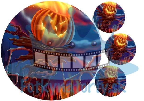 Halloween - Strašidelná Tekvica - jedlý obrázok / oblátka na tortu
