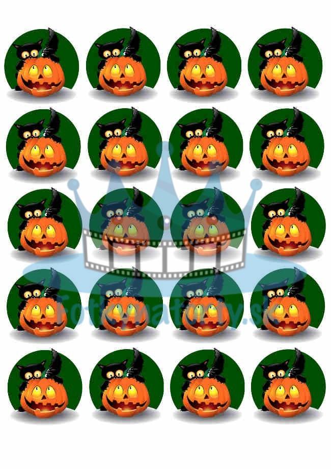 Halloweenske dekorácie - 20 ks - jedlé dekorácie na zákusky, medovníčky, muffiny a cupcakes