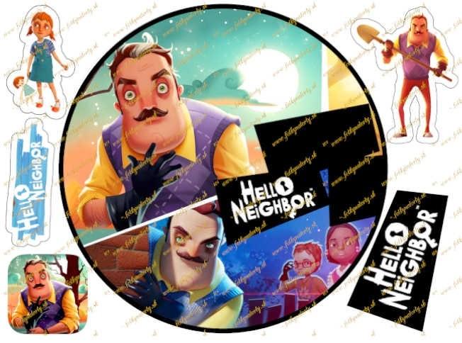 Jedlý obrázok na tortu Hello Neighbor