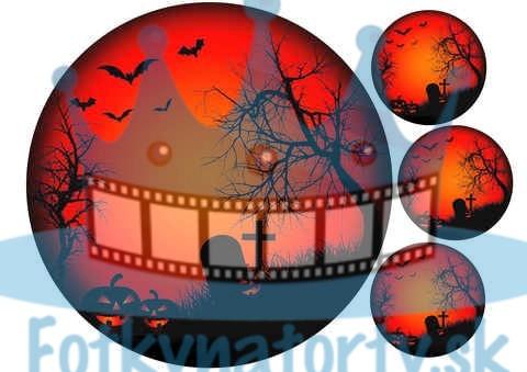 Halloween - cintorín - jedlý obrázok / oblátka na tortu