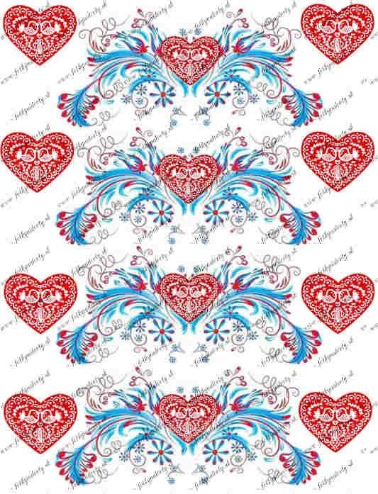 Ľudový motív - jedlý folklórny lem okolo torty - červené srdce