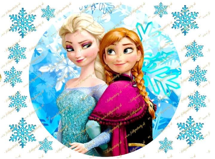 Jedlý obrázok na tortu Ľadové kráľovstvo Anna a Elsa - kruh