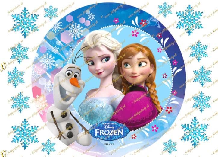 Jedlý obrázok na tortu Frozen Anna, Elsa a Olaf