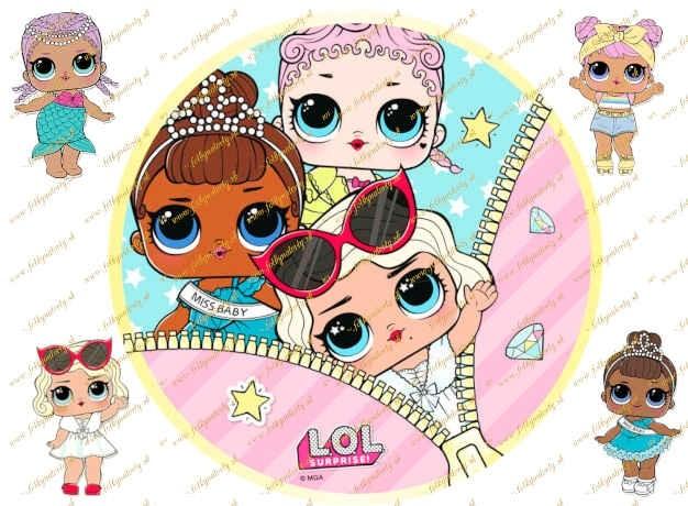 Jedlý obrázok na tortu bábiky LOL Surprise