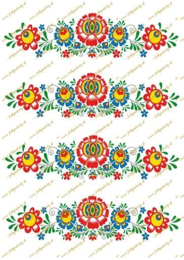 Ľudový motív - dekorácie na tortu (rozmer 20 x 5,3 cm)