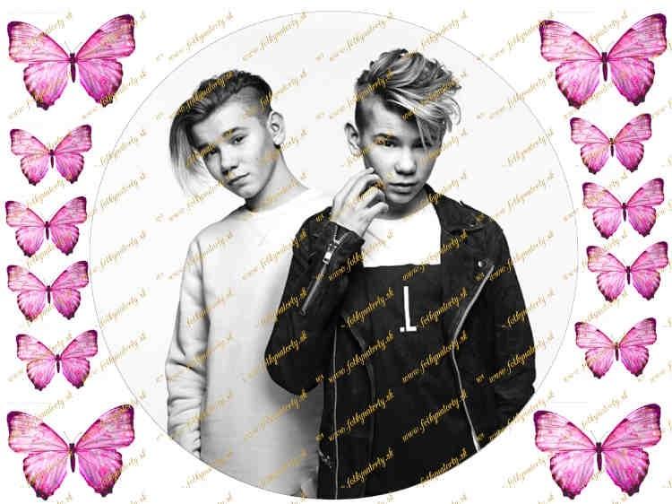 Jedlý okrúhly obrázok - Marcus a Martinus a ružové motýle na ozdobenie torty