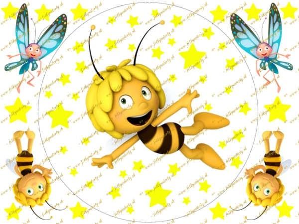 Včielka Maja na tortu okrúhly jedlý obrázok