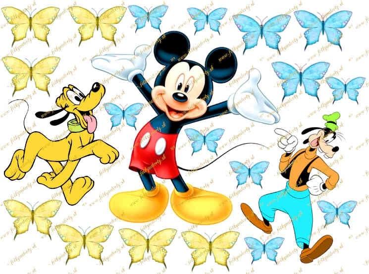 Jedlý obrázok na tortu Disney Mickey Mouse a kamaráti Goofy a Pluto
