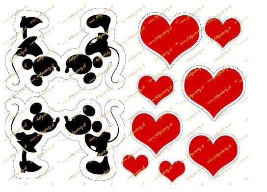 Jedlý obrázok na tortu siluety Mickey a Minnie