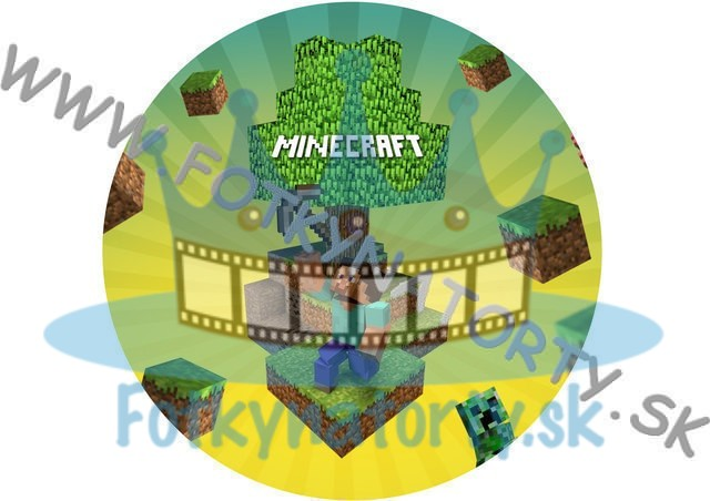 Minecraft II. - jedlý obrázok na tortu, tvar: kruh/ jedlé obrázky / Fotky na torty / jedlá tlač