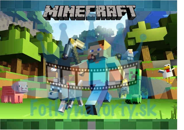 Minecraft - jedlý obrázok na tortu obdĺžnik / jedlé obrázky / Fotky na torty / jedlá tlač / oblátka na tortu / oplátka