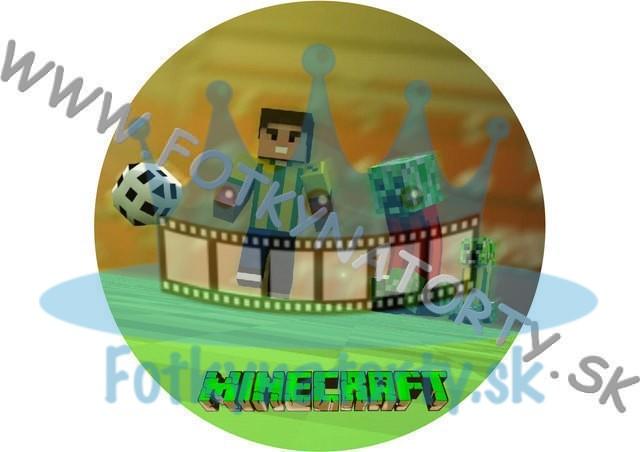 Minecraft Futbal - jedlý obrázok na tortu kruh / jedlé obrázky / Fotky na torty / jedlá tlač