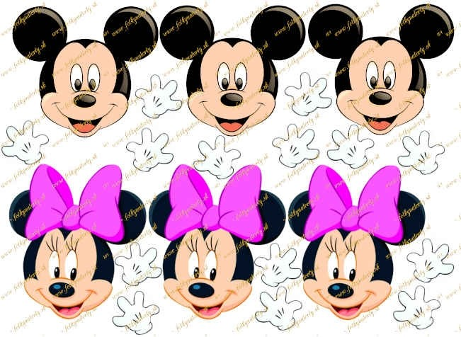 Jedlý obrázok na vystrihnutie: hlavy Mickey a Minnie