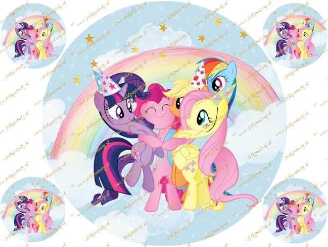 Okrúhly  jemný jedlý obrázok na tortu My Little Pony - kruh
