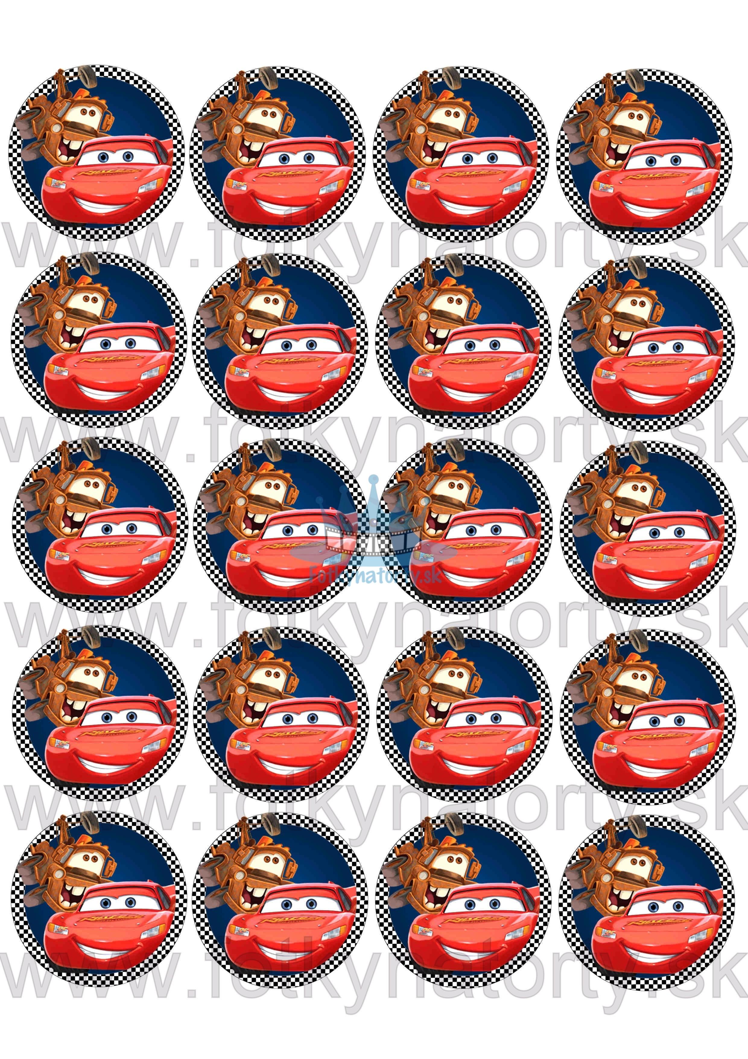 Autíčka Cars na muffiny - 20 ks - jedlé obrázky na zákusky, medovníčky a iné dobrôtky / na tortu / jedlé tortové obrázky / Fotky na torty