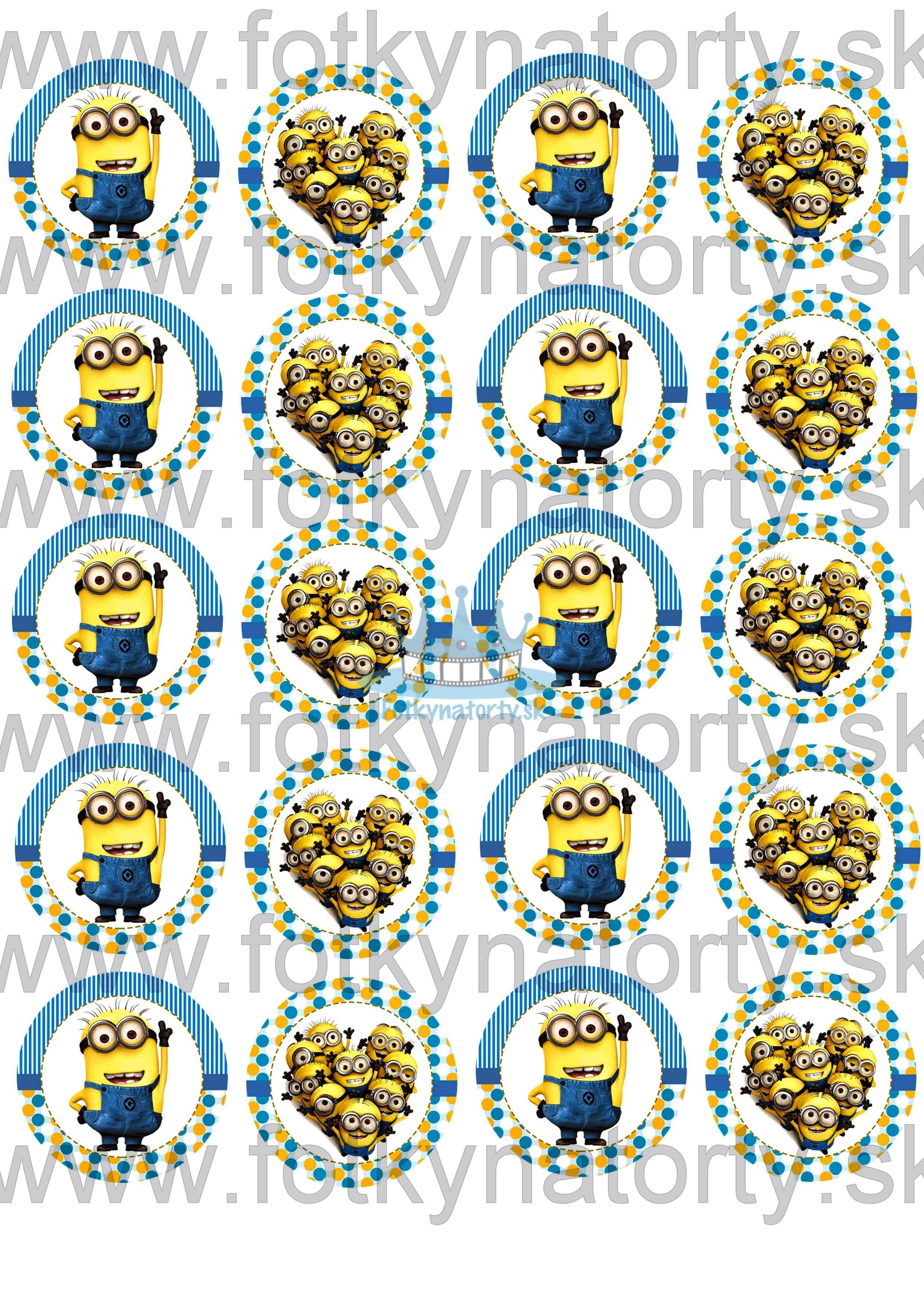 Mimoni / Minions na muffiny - 20 ks - jedlé obrázky na zákusky, medovníčky a iné dobrôtky / na tortu / jedlé tortové obrázky / Fotky na Torty