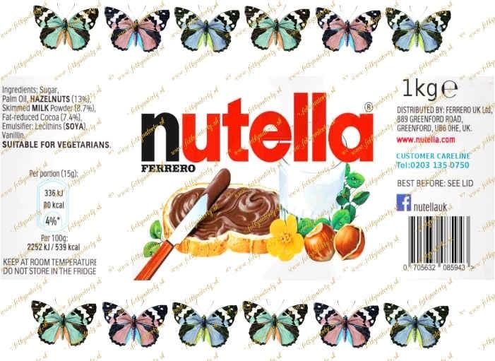 Jedlý obrázok na vystrihnutie - jedlá etiketa na tortu Nutella