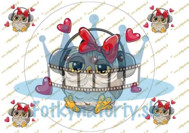 Okrúhla sovička na tortu- náhľad