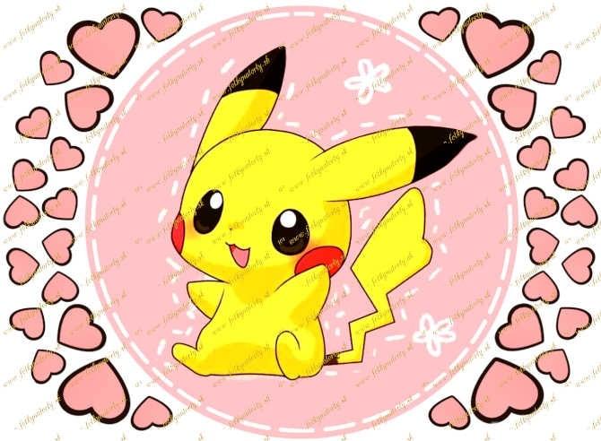 Pikachu Pokémon jedlý obrázok na tortu