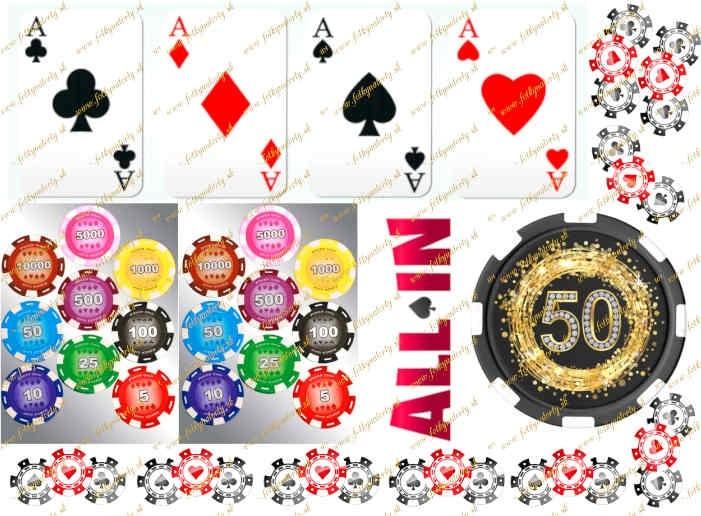 Jedlý obrázok na vystrihnutie - Poker, karty, žetóny a žetón s číslicou