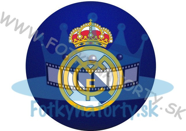 Logo FC Real Madrid okrúhly jedlý obrázok/ oblátka na tortu / Fotky na tortu