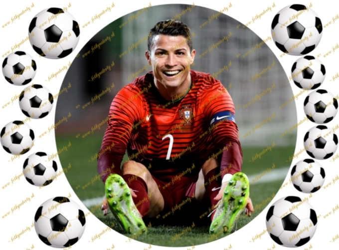 Futbalista Cristiano Ronaldo - jedlý obrázok na tortu - kruh s dekoráciami